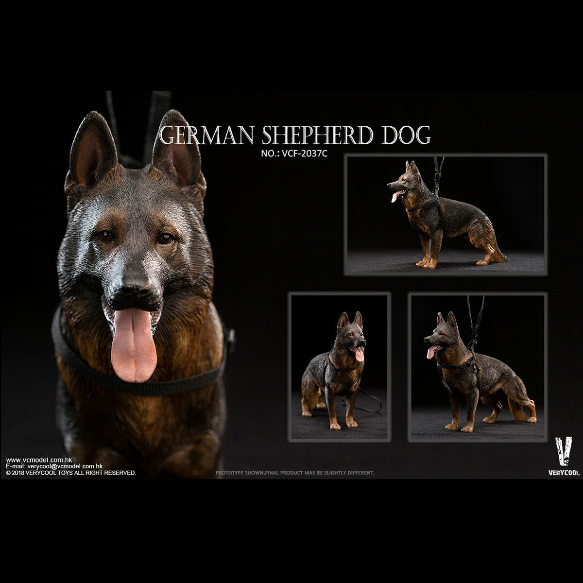VERYCOOL VCF-2037C 1 6 Scale German Shepherd Dog Model