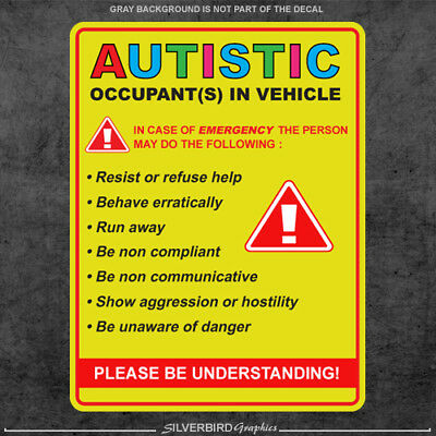 Sticker Decal Autism Awareness car Truck Window Autistic Occupant in Vehicle
