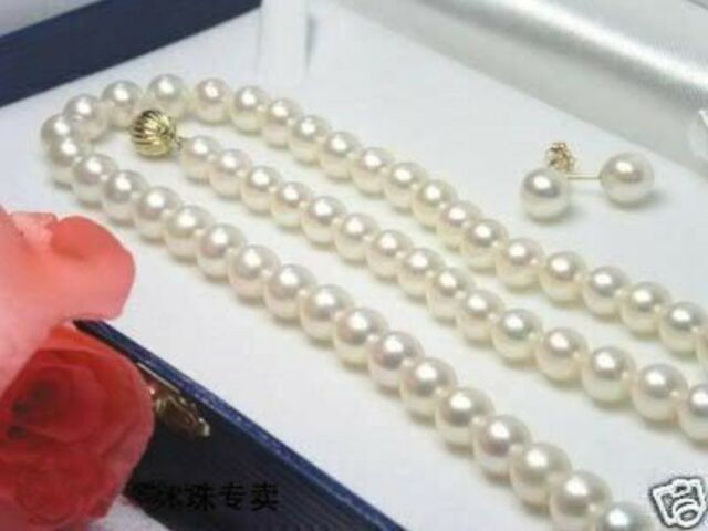 "New 7-8MM White Akoya Cultured Pearl Necklace 18"" + Earring Set"