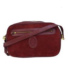 Authentic Must De Cartier Logos Shoulder Bag Suede Skin Leather Bordeaux 03D677