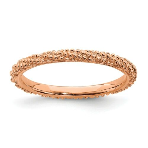 Details about  /Sterling Silver Stackable Expressions Rose Gold Plated Twist Ring Sizes 5 to 10