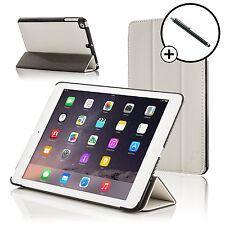 Pelle Bianca Smart Custodia Pieghevole Cover per Apple iPad Air e Stilo