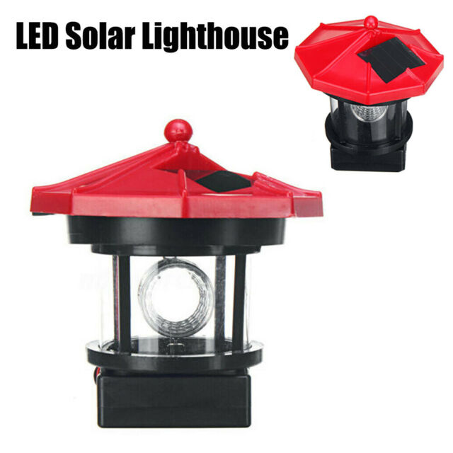 Solar Powered Lighthouse Statue Rotating Outdoor Garden Lawn Light LED Ornament
