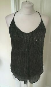 NEW-Ladies-Topshop-Strappy-Black-and-Silver-Vest-Top-Size-4-8-10-FREE-POSTAGE