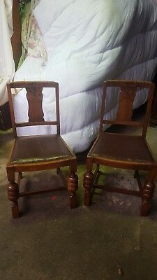 look & Leather Upholstered Salon Bedroom Chairs Ingenious Pair Vintage Antique Walnut