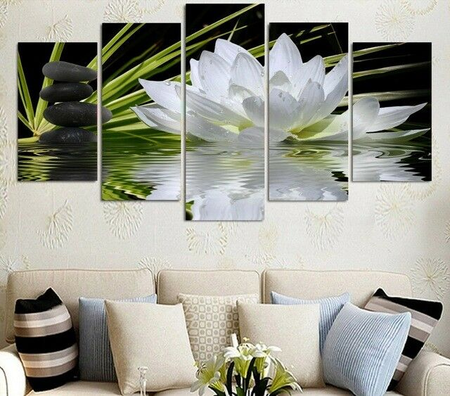 Painting On Canvas Wall Picture For Living Room HD Print 5 Panel Weiß Flowers