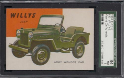 1953 TOPPS World on Wheels #33 Willys Jeep NM SGC 84 7