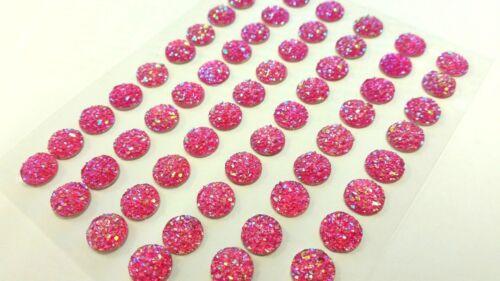 CraftbuddyUS CB042F 60pc 10mm Self Adhesive AB Gems Fuchia Stick on Diamnte Gems