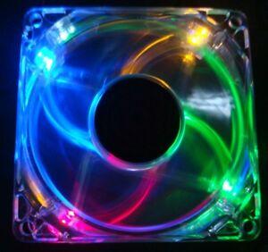 Blue//rgb Quad LED Neon Light Quite Clear PC Computer Case Cooling Fan Mod
