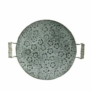 Round-Flat-Metal-Plate-Decorative-Retro-Dessert-Serving-Tray-With-Wood-Handles