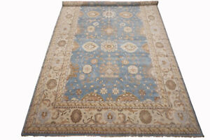 14X24-Light-Blue-Oushak-Area-Rug-Hand-Knotted-Vegetable-Dyed-Wool-13-9-x-23-10