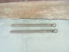 2 wooden handles with metal rings horse wagon western decor hitch garden decor
