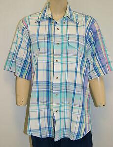 Vintage-70-039-s-GANT-FoxHunt-Plaid-Cotton-Short-Sleeve-Shirt-Size-Large