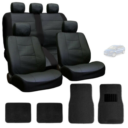 FOR MAZDA NEW PREMIUM BREATHABLE BLACK SYN LEATHER CAR SEAT COVERS MATS SET