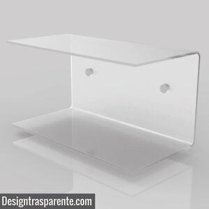 Coppia Comodini sospesi in plexiglass trasparente da camera L ...