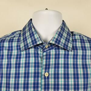 Peter-Millar-Mens-Blue-Purple-Check-Plaid-Dress-Button-Shirt-Size-Large-L