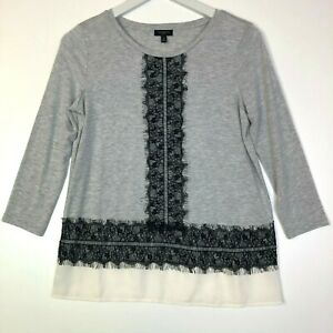 Talbots 3/4 sleeve layered lace tee top tshirt grey size p petite