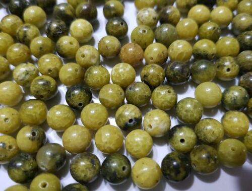 10 perles semi précieuses gemmes JASPE 8mm jaune anis effet craquelé ////37