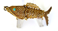 """Antique Gold  Perfume Pendant- Articulate Fish/Koi with Turquoise Eye ,2 3/4 """""""