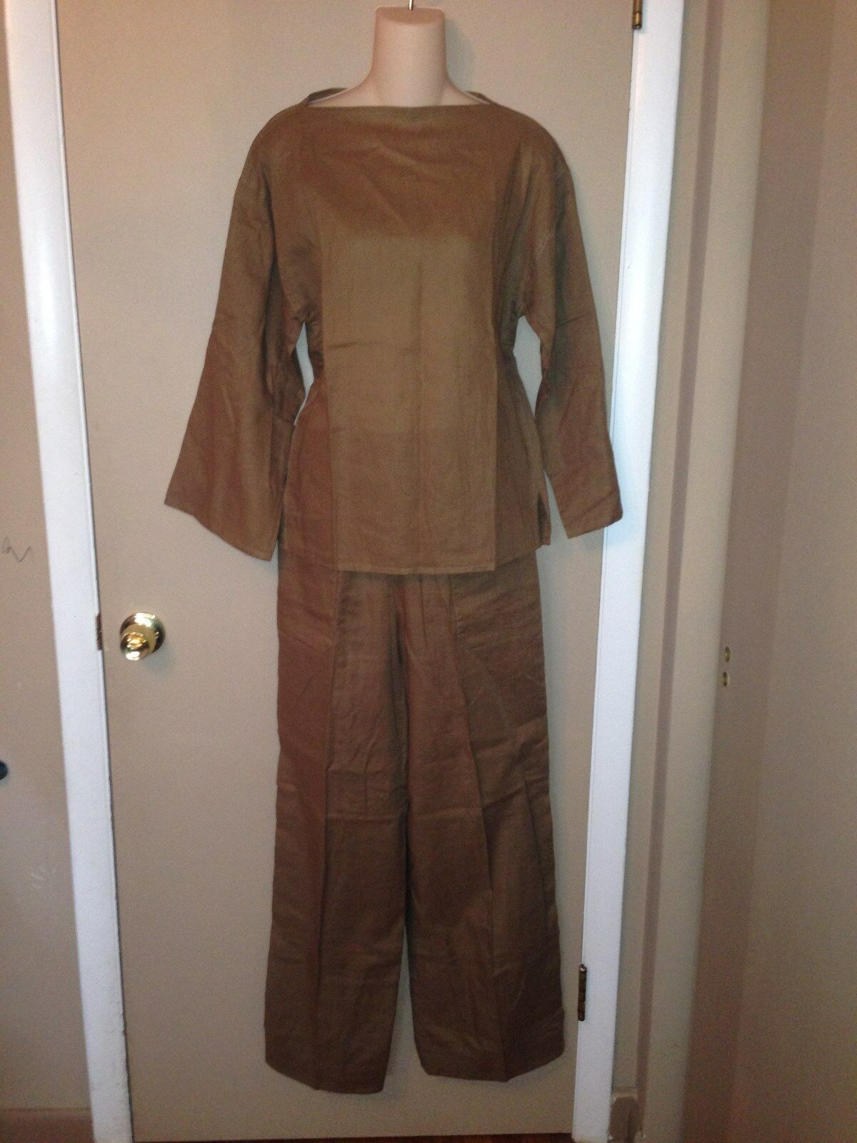 CHRISTIAN DIOR LADIES LINEN SET BLOUSE AND PANTS Größe 8 AND 10