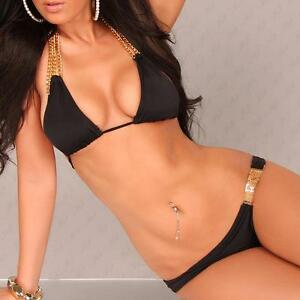 7af75cbaff928 Black Gold Chain Jewel Padded Brazilian Bikini 2 Piece Swimsuit Swimwear  S-M-L