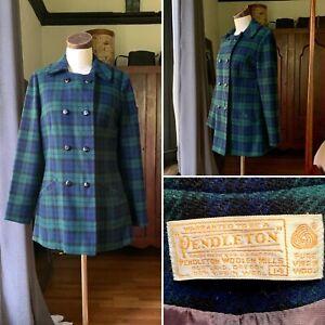 PENDLETON Vintage 1960s Jacket Coat Plaid PURE WOOL Green Blue M/L 14