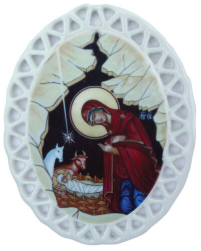 """Christmas Ornaments 3/"""" Oval NEW Porcelain Orthodox Icons -assorted"""