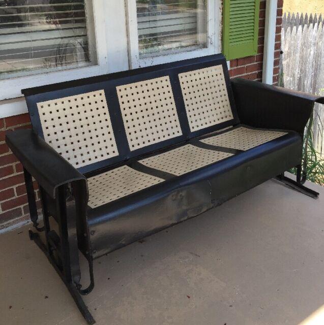 Delicieux Vintage 1950s Metal Porch Glider Old Garden Swing Settee Mid Century Modern