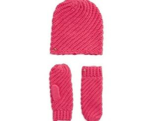 Kate-Spade-Wool-Blend-Knit-touque-Hat-Beanie-amp-Mittens-Glove-Set-Strawberry-Pink