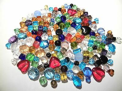Choice of 100g 500g Mixed Assorted Glass Crystal Beads 4mm-15mm BULK WHOLESALE
