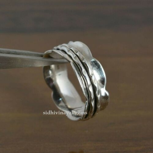 Minimalist Meditation 925 Sterling Silver Spinner Silver Band Worry Ring L-2