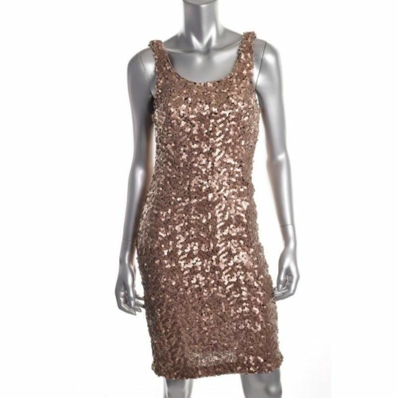 LAUNDRY by Shelli Segal Designer Nude   GoldSequined Cocktail EVENING Dress US 0