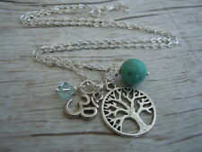 Tree of Life Necklace, Turquoise Gemstone, Om Charm, Swarovski Crystal, Chakra
