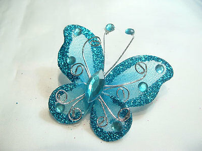 5 x Glitter Organza/Gauze Butterflies:BNGGB07 Turquoise