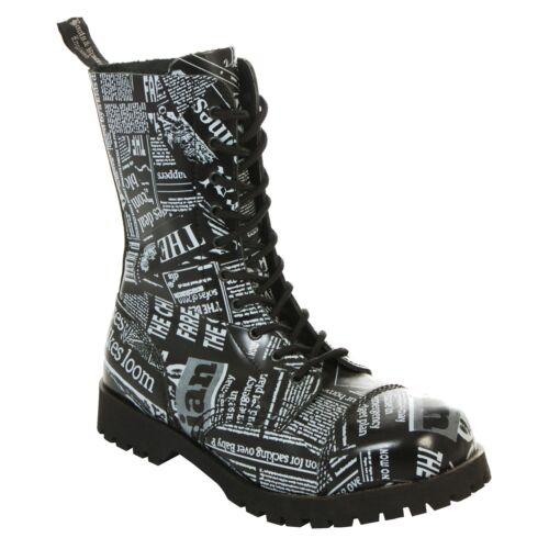 10-hole Newspaper Boots Rangers Black White Newspaper Print S Boots /& Braces