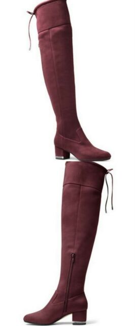 7d6f69199bf Michael Kors Jamie Damsom Plum Silver Chain Suede Over the Knee Boots 7