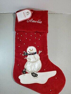 Pottery Barn Christmas Stocking Luxe Velvet Snowman Mono