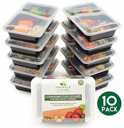 10 Pack en Plastique Réutilisable Aliments Avec 2 Compartiment BPA Free Meal Prep conteneurs