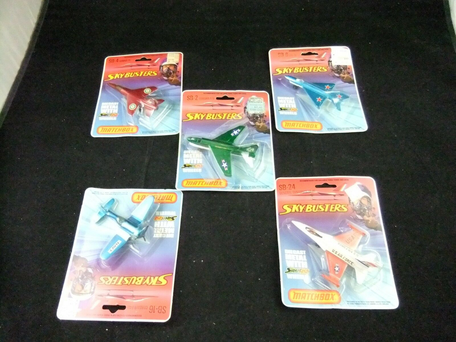 1977 matchbox militaire Avions United  States Air Force YF-16 Corsair A7D & F4U Mirage F1 MIG 21  grande vente