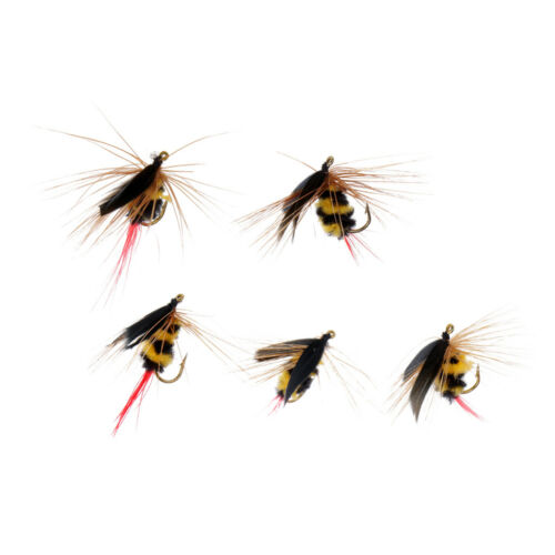 5Pcs Artificial Insect Baits Bumble Bee Fly Trout Fishing Flies Bionic Bee