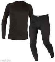 Size Medium Mens Black Thermal Base Layer Underwear Set Top & Bottoms Bargain