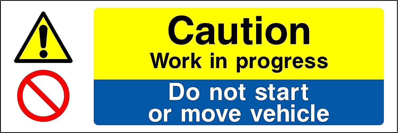 GS8 Caution Work in Progress 300x100mm Plastic Sign OR Sticker