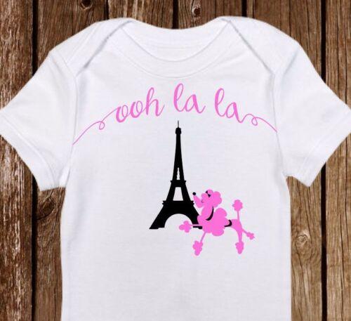 "Cute Baby Girl clothes Newborn Custom Print  Eiffel Tower Pink /""Paris/"" Onesie"