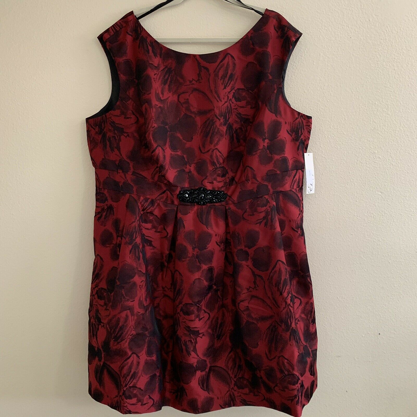 Eliza J plus Größe 22W dress rot floral print cap sleeves jacquard pleated tulle