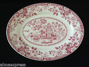Rare-Myott-Staffordshire-England-China-RED-Indiana-12-1-2-034-OVAL-SERVING-PLATTER