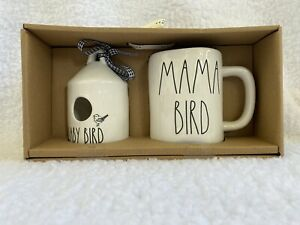 NEW-Rae-Dunn-Round-Mini-BABY-BIRD-Birdhouse-and-MAMA-BIRD-Mug-Set