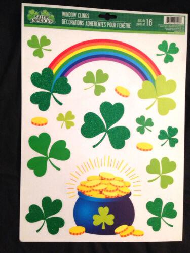 Lucky Irish POT-O-GOLD RAINBOW SHAMROCKS CLINGS Party Mirror Window Decorations