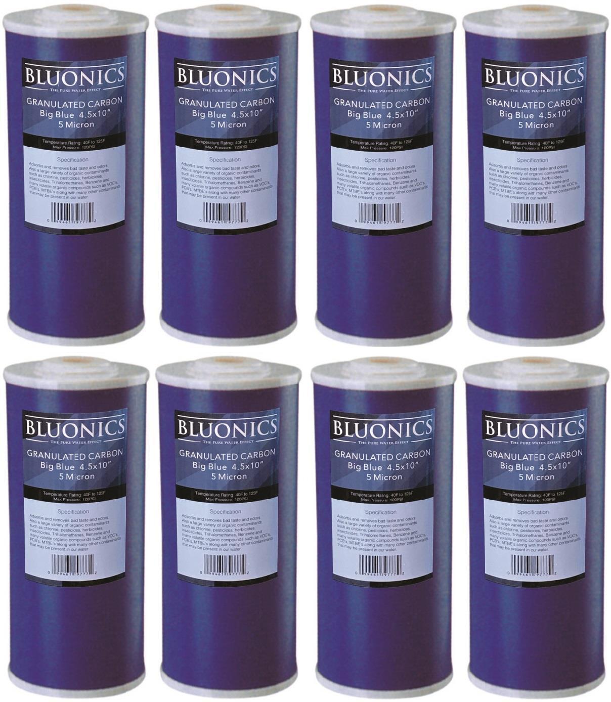 8 pcs Big bleu GAC GRANULEUX ACTIVé CARBONE Filtres à eau 4.5  x 10  Cartouches