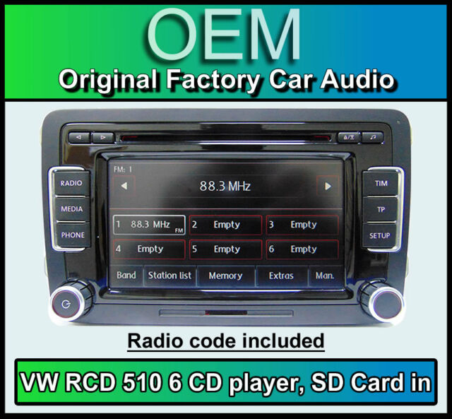 VW Touran car stereo, RCD 510 radio 6 CD changer, touchscreen SD card