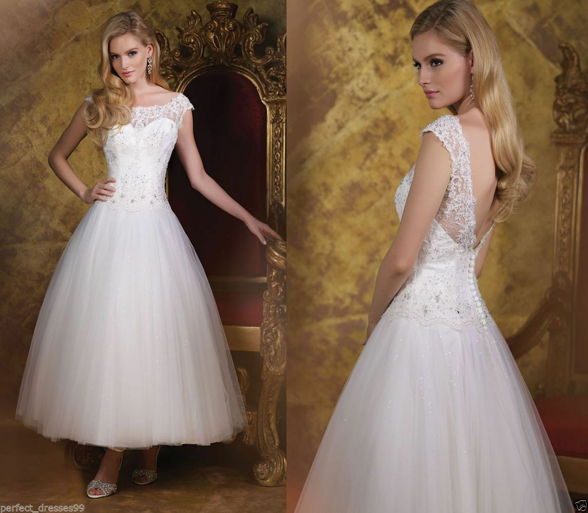 Formal Short Tea Length Lace White Ivory Wedding Dress Party Ball Gown Size 6-18